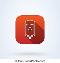 iv blood bag. line art Simple vector modern icon design illustration.