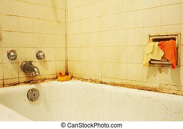 iv, fürdőkád, koszos