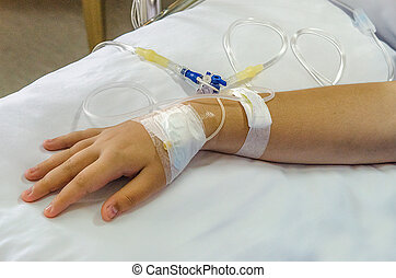 IV solution in patient hand