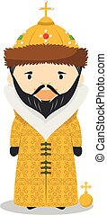 Ivan IV of Russia (The Terrible) cartoon character. Vector...