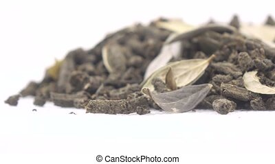 Ivan tea with leaves of cowberry - Pile of tea willow...