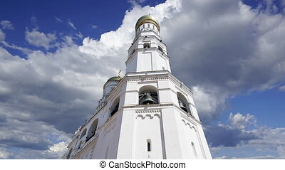 Ivan the Great Bell  against the moving clouds. Moscow Kremlin, Russia. UNESCO World Heritage Site