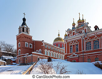 Iversky monastery in Samara, Russia. Winter