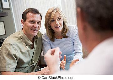 ivf, paar, klinik, beratungsgespräch, focus), (selective