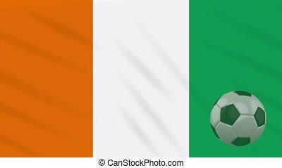 ivoire, balle, -, ivoire, côte, drapeau, cote, football
