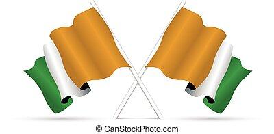 ivoire, drapeau, côte