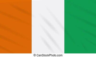 ivoire, drapeau, -, ivoire, coas, cote, fond, boucle