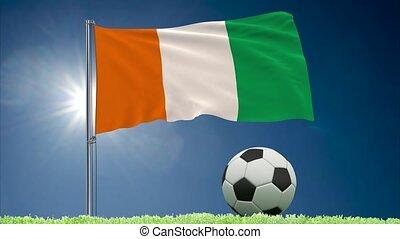 ivoire, football, -, côte, drapeau, divoire cote, rouleaux