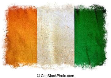 ivoor, grunge, vlag, kust