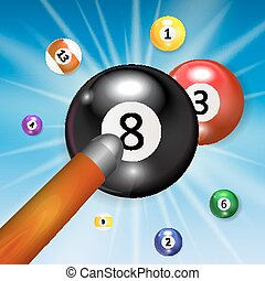 Ivories, Billiard Balls Background Vector Illustration....