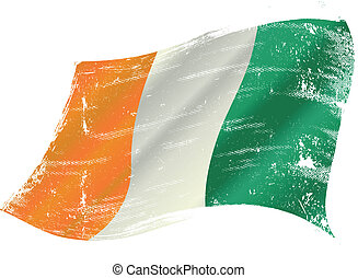 Ivory Coast flag grunge - Ivorian flag with a texture in the...