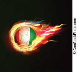 Ivory Coast flag with flying soccer ball on fire isolated black background, vector illustration
