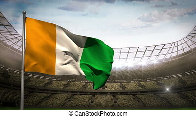 Ivory coast national flag waving on
