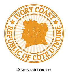Ivory coast stamp - Grunge rubber stamp with the name and...