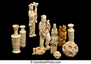 A group of japanese chinese ivory carvings okimono