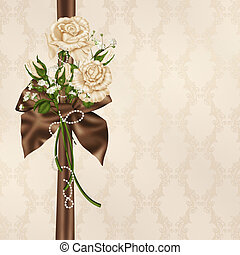 ivory rose bouquet with satin bow - Ivory rose bouquet with...