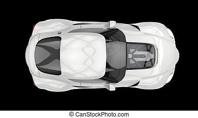 Ivory white modern sports car - top down view