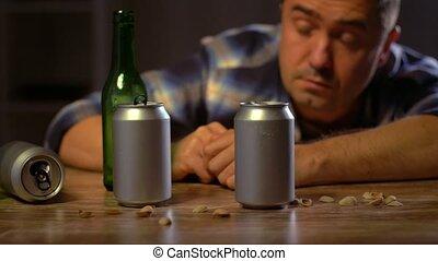 ivre, alcoolique, bière, maison, boire, mâle