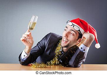 ivre, bureau, après, homme affaires, fête, noël