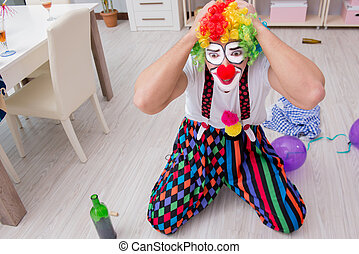 ivre, clown, célébrer, fête, maison, avoir