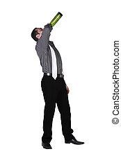 ivre, directement, bouteille, homme affaires, boire, dehors
