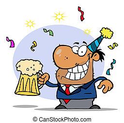 ivre, fête, homme, années, nouveau