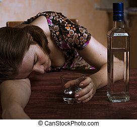ivre, femme, elle, boisson alcoolique, dormir, tenue, tabl