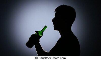 ivre, haut, homme, fin, boire, light., dos, vin.
