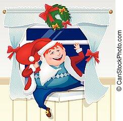 ivre, montées, santa, gifts., papa, habillé, fenêtre, dehors