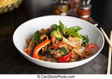 ivre, nourriture, thaï, nouille