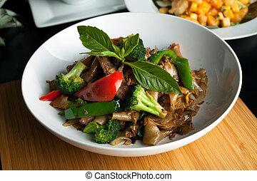 ivre, plat, thaï, nouille