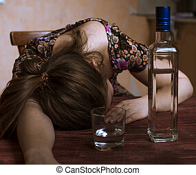ivre, tête, femme, elle, boisson alcoolique, dormir, tenue, table