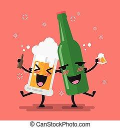 ivre, verre bière, bouteille, caractère