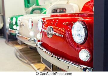 ivrig, årgång, specificera, oldtimer, bil, röd