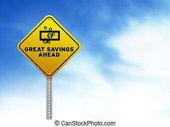 ivrig, besparingar, framåt, vägmärke