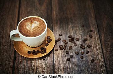 ivrig, filma, av, kaffe kopp