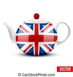 ivrig, keramisk, flagga, engelsk, britain., tekanna