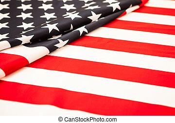 ivrig, och, respektingivande, america., röda vita, flagga, med, den, stjärnor