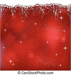 ivrig, stjärnor, snowflakes., abstrakt, themes., jul, bakgrund, eller, röd, vinter