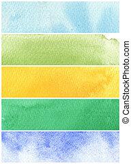 ivrig, vattenfärg, bakgrund, -, vattenfärg, målar, på, a,...
