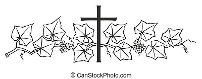 ivy and cross - simplified illustration of cross with ivy...