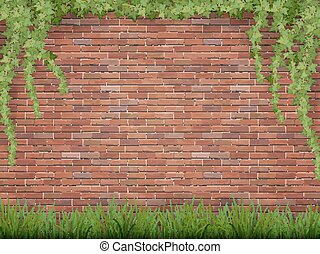 ivy and grass on brick wall background