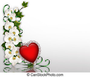 Ivy and Orchids and 3D red heart