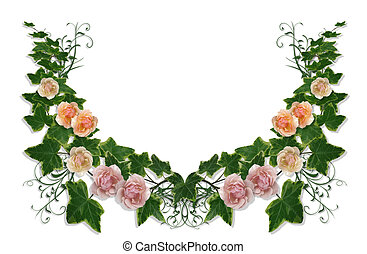Ivy and Roses Floral Border