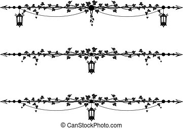 ivy border with street lamp - set of vector borders with...