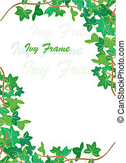 Ivy frame - spring Ivy corners background, vector...