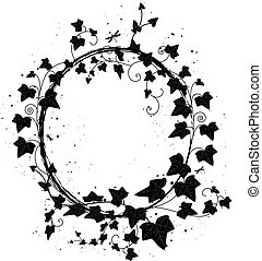 ivy frame - vector oval frame with branch of ivy and ...