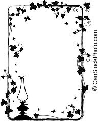 ivy frame with kerosene lamp - vector frame with branch of...