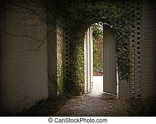 Ivy gateway - Morning light enters through an ivy gateway