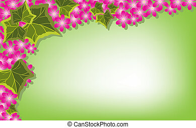 Ivy leaves and pink flowers embellish a green background